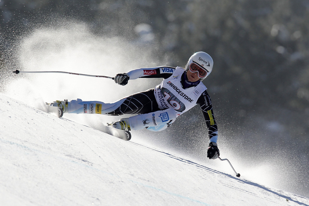 Description of . Julia Mancuso of the USA competes during the Audi FIS Alpine Ski World Cup Women\'s Downhill on March 02, 2013 in Garmisch-Partenkirchen, Germany. (Photo by Alexis Boichard/Agence Zoom/Getty Images)