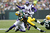 James Starks #44 of the Green Bay Packers gets tackled while running with the ball against the Minnesota Vikings during the game at Lambeau Field on December 2, 2012 in Green Bay, Wisconsin. The Packers won 23-14. (Photo by Joe Robbins/Getty Images)