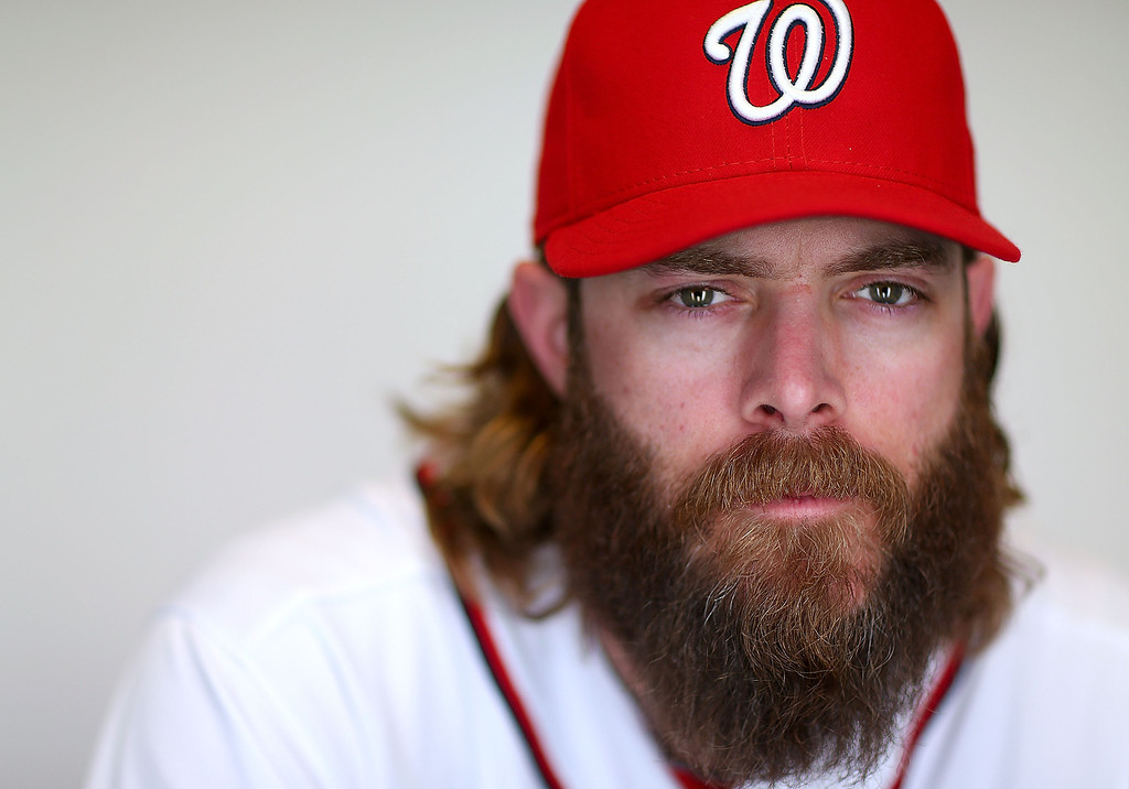 Description of . VIERA, FL - FEBRUARY 20:  Jayson Werth #28 of the Washington Nationals poses for a portrait during photo day at Space Coast Stadium on February 20, 2013 in Viera, Florida.  (Photo by Mike Ehrmann/Getty Images)