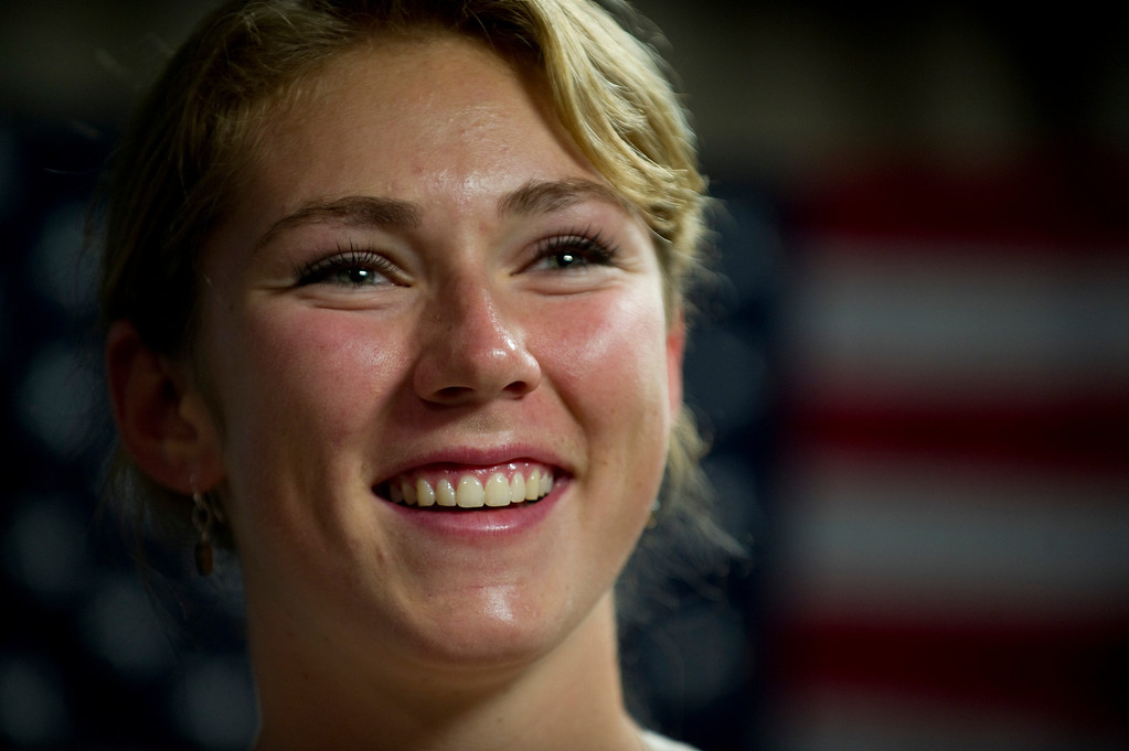 Description of . Mikaela Shiffrin smiles during an interview with former Olympic Skier Picabo Street in Avon, Co. on July 15, 2013. (Photo By Grant Hindsley/The Denver Post)