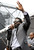 Baltimore Ravens safety Ed Reed addresses fans at a send-off rally for the team Monday, Jan. 28, 2013 in Baltimore. The NFL football team is leaving for New Orleans to face the San Francisco 49ers in the Super Bowl. (AP Photo/Steve Ruark)