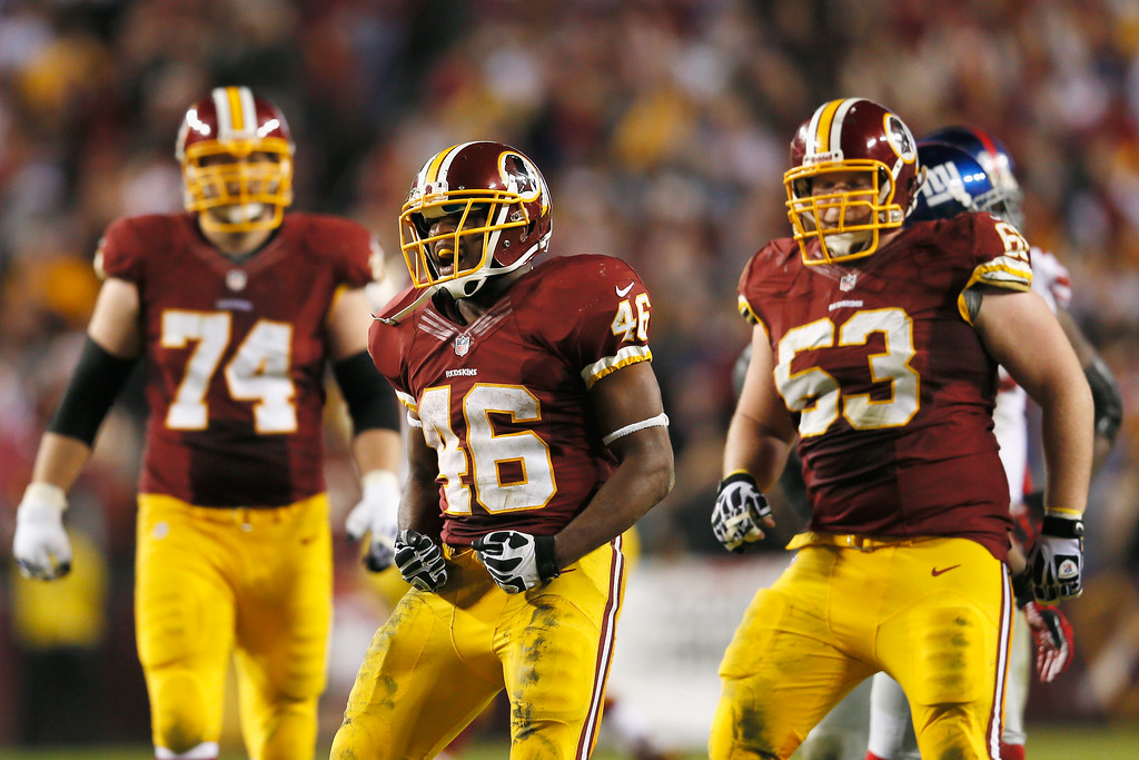 Description of . LANDOVER, MD - DECEMBER 03: Running back Alfred Morris #46 of the Washington Redskins celebrates after rushing for a first down in the closing moments of the Giants 17-16 win over the New York Giants at FedExField on December 3, 2012 in Landover, Maryland.  (Photo by Rob Carr/Getty Images)
