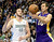 Los Angeles Lakers Steve Nash (R) passes the ball away from Denver Nuggets Kosta Koufos (L) during their NBA basketball game in Denver, Colorado February 25, 2013.   REUTERS/Mark Leffingwell