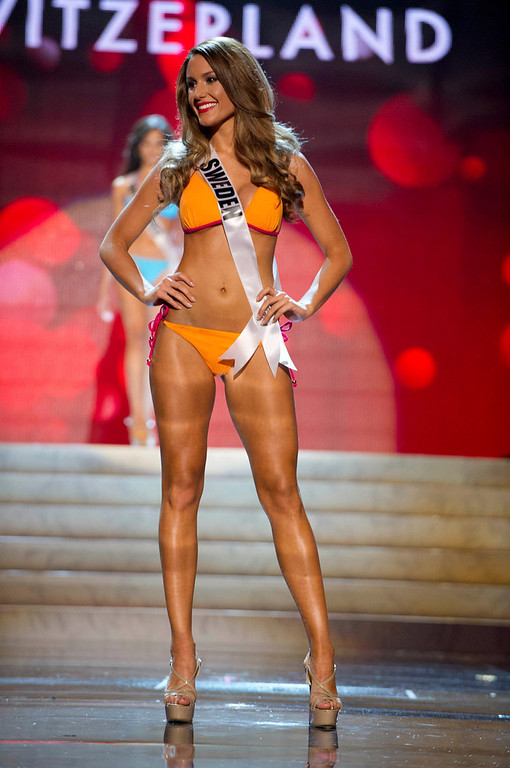 Description of . Miss Sweden Hanni Beronius competes in her Kooey Australia swimwear and Chinese Laundry shoes during the Swimsuit Competition of the 2012 Miss Universe Presentation Show at PH Live in Las Vegas, Nevada December 13, 2012. The 89 Miss Universe Contestants will compete for the Diamond Nexus Crown on December 19, 2012. REUTERS/Darren Decker/Miss Universe Organization/Handout