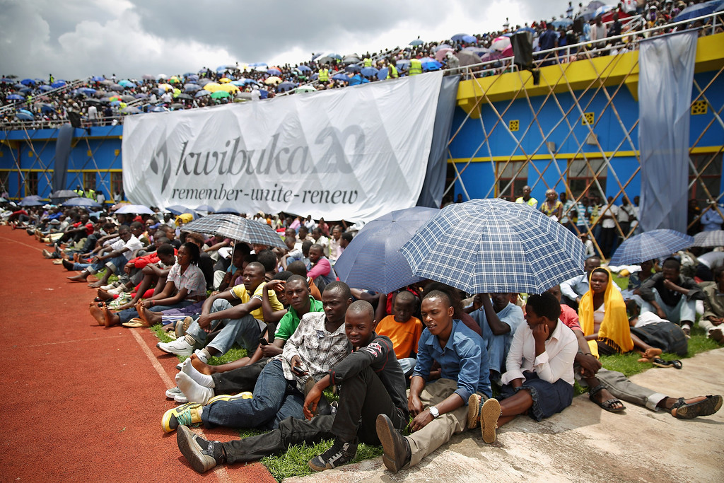 Description of . Tens of thousands of people gather at Amahoro Stadium to commemorate the 20th anniversary of the 1994 genocide April 7, 2014 in Kigali, Rwanda.  (Photo by Chip Somodevilla/Getty Images)