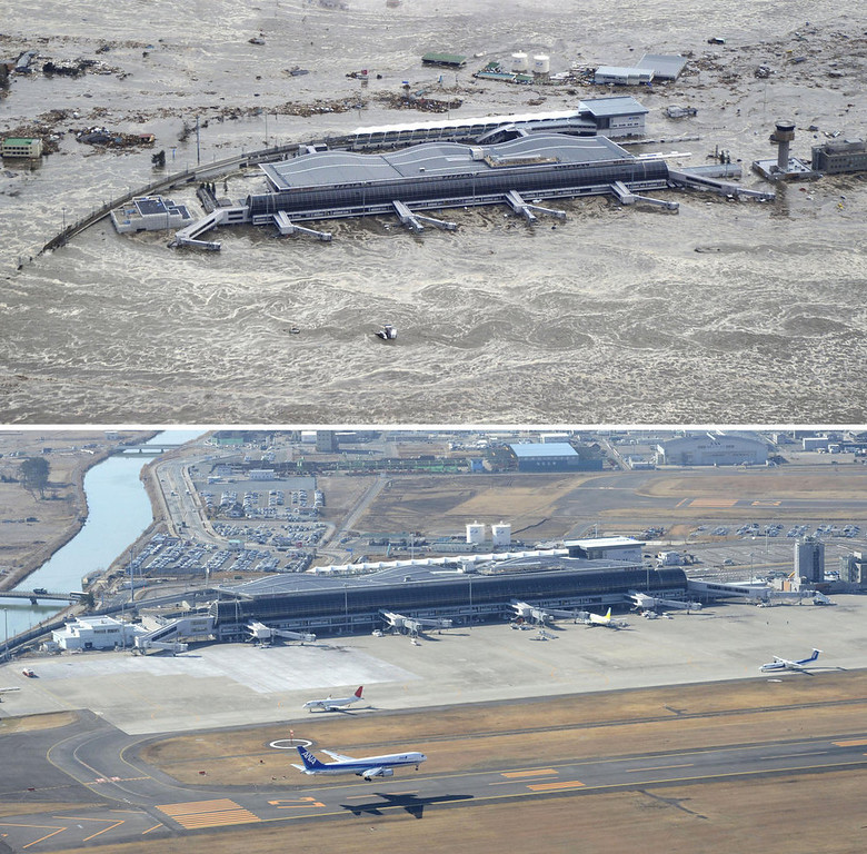 Description of . This combination photo taken March 11, 2011, top, and Monday, March 4, 2013 shows an aerial view of Sendai Airport in Natori, Miyagi prefecture. The airport resumed operation only about one month after the tsunami and functioned as the major base of the rescue operation. March 11, 2013 is the 2-year anniversary of the earthquake and tsunami which devastated the northeastern Pacific coast of Japan. (AP Photo/Kyodo News)