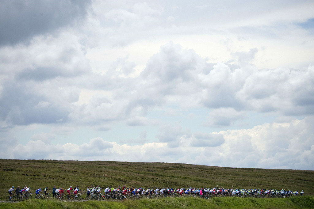 Description of . The pack rides during the 201 km second stage of the 101th edition of the Tour de France cycling race on July 6, 2014 between York and Sheffield, northern England.  AFP PHOTO / JEFF PACHOUDJEFF PACHOUD/AFP/Getty Images
