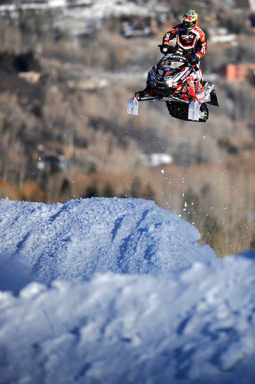 Description of . ASPEN, CO - January 27: Bobby LePage, of Duluth, Minnesota, races during the snowmobile SnoCross final at Winter X Games Aspen 2013 at Buttermilk Mountain on Jan. 27, 2013, in Aspen, Colorado. LePage finished 12th overall. (Photo by Daniel Petty/The Denver Post)