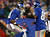 Victor Cruz #80 of the New York Giants celebrates his touchdown with teammate  Hakeem Nicks #88 on December 9, 2012 at MetLife Stadium in East Rutherford, New Jersey.  (Photo by Elsa/Getty Images)