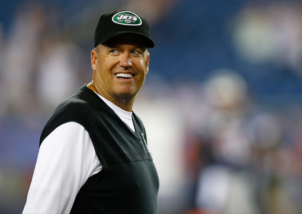 Description of . Head coach Rex Ryan of the New York Jets looks on before taking on the New England Patriots at Gillette Stadium on September 12, 2013 in Foxboro, Massachusetts.  (Photo by Jared Wickerham/Getty Images)