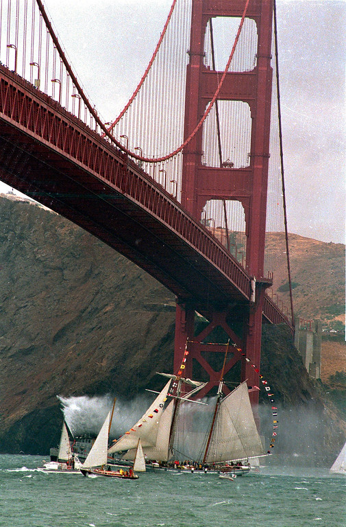Description of . The Californian, a revenue cutter replica, sails under the Golden Gate Bridge in San Francisco, Calif., on May 24, 1987,  as a parade of classic ships is kicked off to celebrate the 50th anniversary of the bridge.  (AP Photo/Sal Veder)