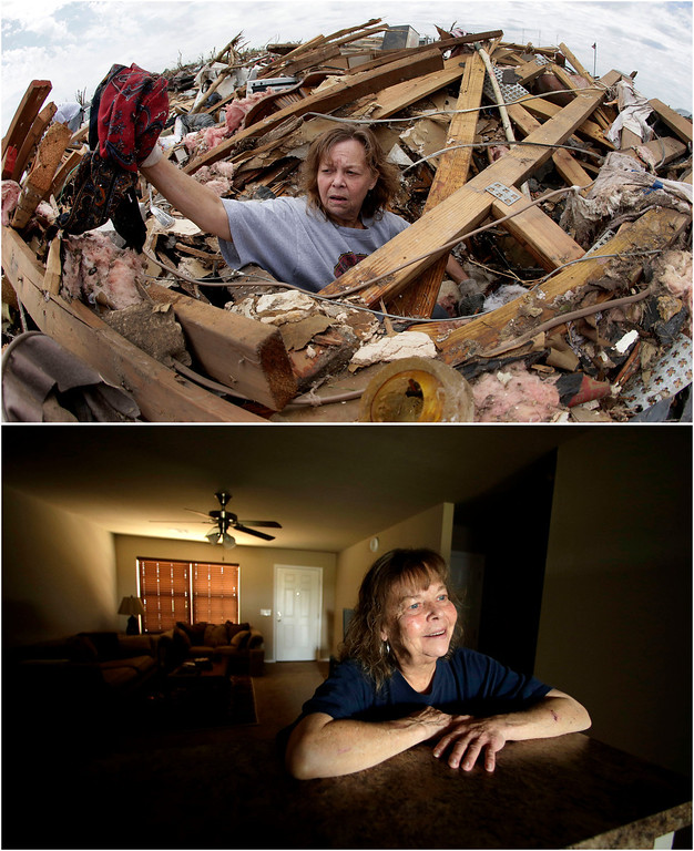 Description of . In this photo combination, Carol Kawaykla salvages items at her tornado-ravaged home on May 23, 2013, in Moore, Okla., top, and Kawaykla stands for a photo in her new home near the same area on May 7, 2014, bottom. Kawaykla said she misses some personal items lost in the tornado, but is more concerned with safety of children in schools during storms. (AP Photo/Charlie Riedel)