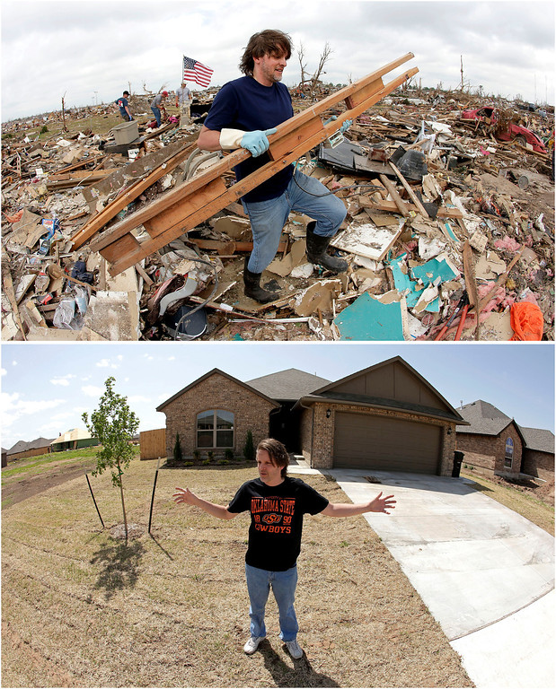 Description of . In this photo combination, Kevin Kressler carries away debris at his tornado-ravaged home on May 25, 2013, in Moore, Okla., top. Kressler stands for a photo in front of his new home on May, 8, 2014, bottom. Kressler was one of the first residents to move back to his neighborhood after a massive tornado on May 20, 2013, leveled blocks around him in the Oklahoma City suburb. (AP Photo/Charlie Riedel)