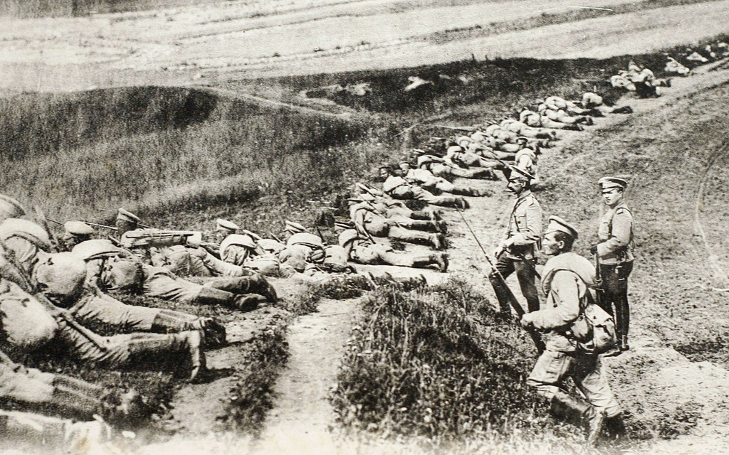 Description of . This file picture of a post card released by the Historial de Peronne, Museum of WWI, shows Russian soldiers on the East Prussia front during the WWI. After a week of failed diplomacy, dithering and doubt, Tsar Nicholas II ordered Russia's armies to mobilize on July 30, 1914. There would be no turning back from a decision that set Europe on a course to war.  AFP PHOTO / STRINGERSTRINGER/AFP/Getty Images