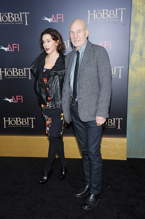 "Description of . Sir Patrick Stewart (R) attends ""The Hobbit: An Unexpected Journey\"" New York premiere benefiting AFI at Ziegfeld Theater on December 6, 2012 in New York City.  (Photo by Michael Loccisano/Getty Images)"