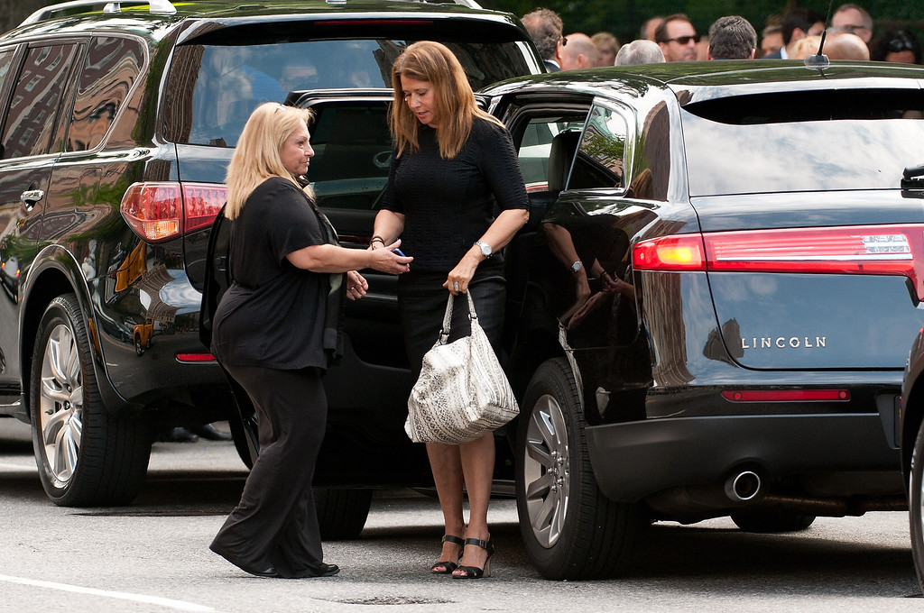 Description of . Actress Lorraine Bracco attends the funeral for actor James Gandolfini at The Cathedral Church of St. John the Divine on June 27, 2013 in New York City.   (Photo by D Dipasupil/Getty Images)