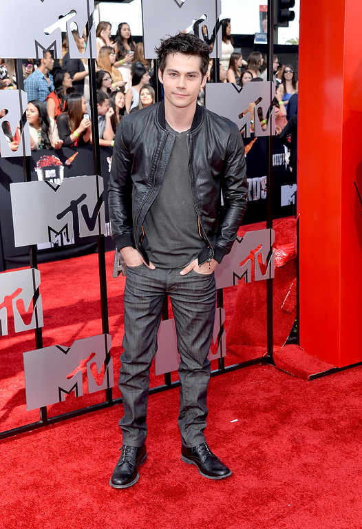 Description of . Actor Dylan O'Brien attends the 2014 MTV Movie Awards at Nokia Theatre L.A. Live on April 13, 2014 in Los Angeles, California.  (Photo by Michael Buckner/Getty Images)