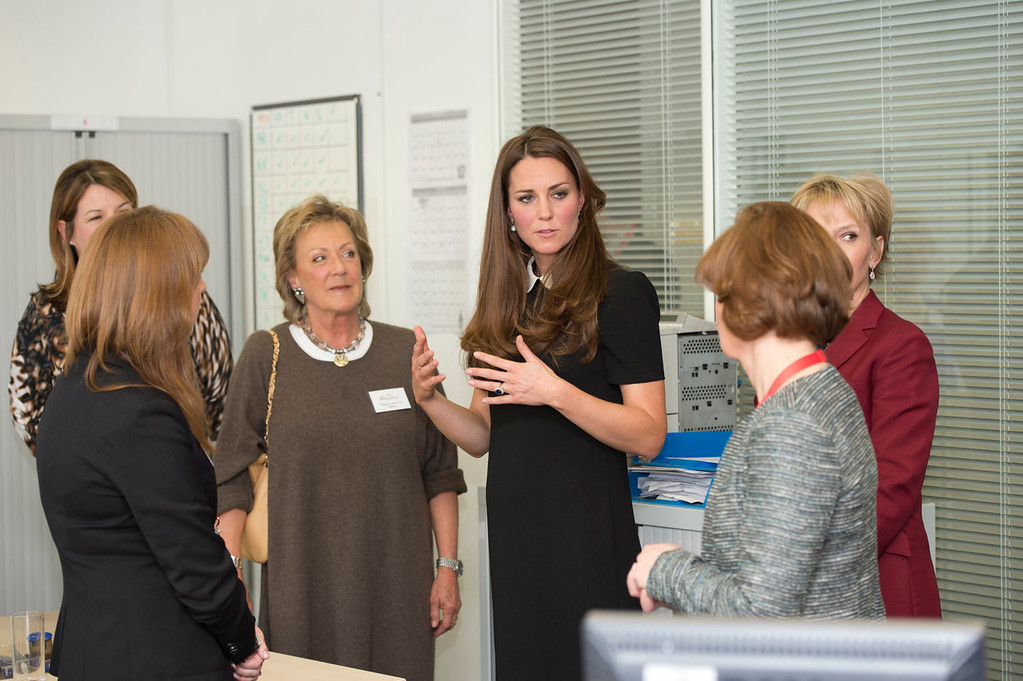 Description of . Catherine, Duchess of Cambridge chats to the bereavement services team as she visits the offices of Child Bereavement UK on March 19, 2013 in Saunderton, Buckinghamshire.  (Photo by Paul Edwards - WPA Pool/Getty Images)