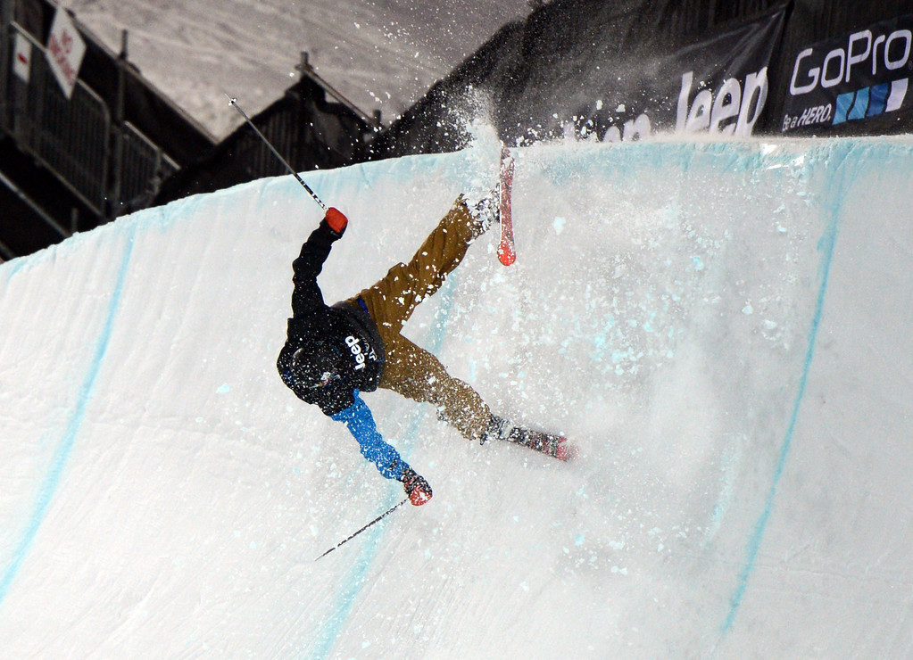 Description of . ASEN, CO. - JANUARY 25:  Aaron Blunck hit the edge of the pipe and crashed during the Men's Ski SuperPipe Final, January 25, 2013, at the 2013 Winter X Games at Buttermilk Mountain in Aspen. (Photo By RJ Sangosti / The Denver Post)