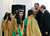 U.S. President Barack Obama speaks to young Palestinian dancers after watching them perform during his visit to the Al-Bireh Youth Center in Ramallah, March 21, 2013.   REUTERS/Jason Reed
