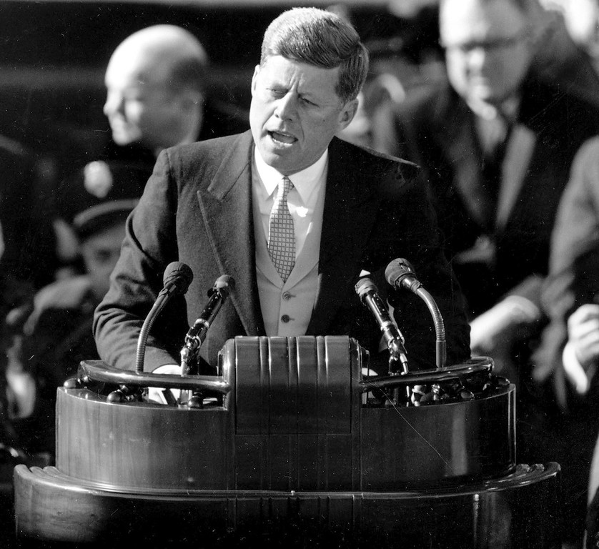 . Kennedy delivers his inaugural address after taking the oath of office on Capitol Hill on Jan. 20, 1961.   Associated Press file