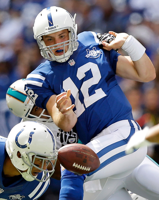 Description of . Indianapolis Colts' Andrew Luck (12) fumbles the ball as he is sacked by Miami Dolphins' Derrick Shelby during the first half an NFL football game on Sunday, Sept. 15, 2013, in Indianapolis. The Colts recovered the ball. (AP Photo/Michael Conroy)