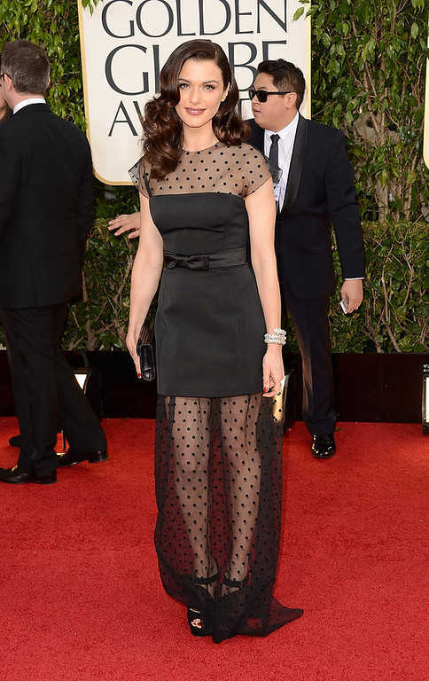 Description of . Actress Rachel Weisz arrives at the 70th Annual Golden Globe Awards held at The Beverly Hilton Hotel on January 13, 2013 in Beverly Hills, California.  (Photo by Jason Merritt/Getty Images)