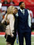 Fox Sports reporter and host Erin Andrews, singer Usher and Fox Sports NFL analyst Michael Strahan stand on the field prior to the Atlanta Falcons hosting the San Francisco 49ers in the NFC Championship game at the Georgia Dome on January 20, 2013 in Atlanta, Georgia.  (Photo by Kevin C. Cox/Getty Images)