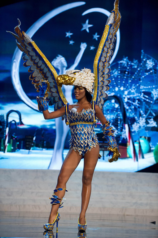 Description of . Miss Curacao Monifa Jansen performs onstage at the 2012 Miss Universe National Costume Show at PH Live in Las Vegas, Nevada December 14, 2012. The 89 Miss Universe contestants will compete for the Diamond Nexus Crown on December 19, 2012. REUTERS/Darren Decker/Miss Universe Organization L.P./Handout