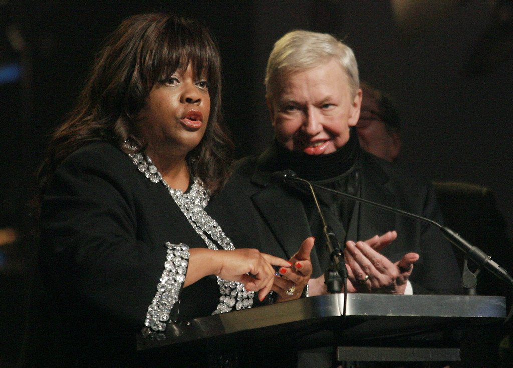 Description of . Chaz Hammelsmith Ebert speaks for her husband film critic Roger Ebert who was honored at the 17th Annual Gotham Awards at Steiner Studios, Tuesday, Nov. 27, 2007 in New York.  (AP Photo/Evan Agostini)