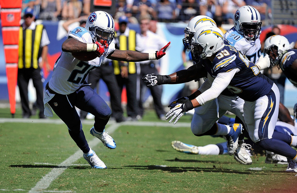 Description of . Running back Chris Johnson #28 of the Tennessee Titans rushes against the San Diego Chargers at LP Field on September 22, 2013 in Nashville, Tennessee.  (Photo by Frederick Breedon/Getty Images)