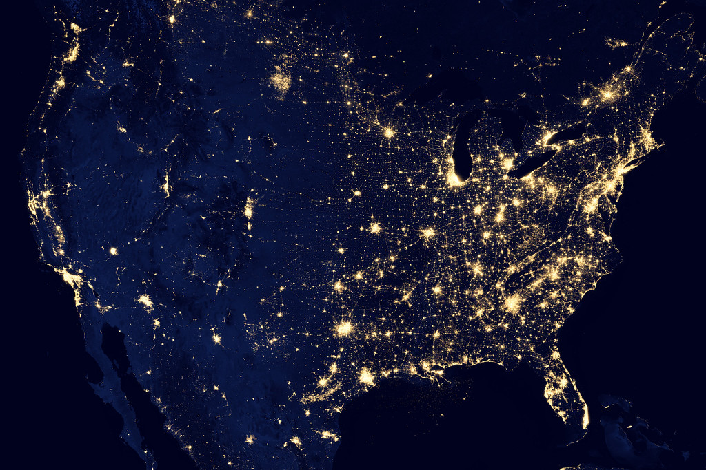 Description of . In this image provided by NASA, the United States of America is seen at night from a composite assembled from data acquired by the Suomi NPP satellite in April and October 2012. The image was made possible by the new satelliteís ìday-night bandî of the Visible Infrared Imaging Radiometer Suite (VIIRS), which detects light in a range of wavelengths from green to near-infrared and uses filtering techniques to observe dim signals such as city lights, gas flares, auroras, wildfires, and reflected moonlight. (AP Photo/NASA)
