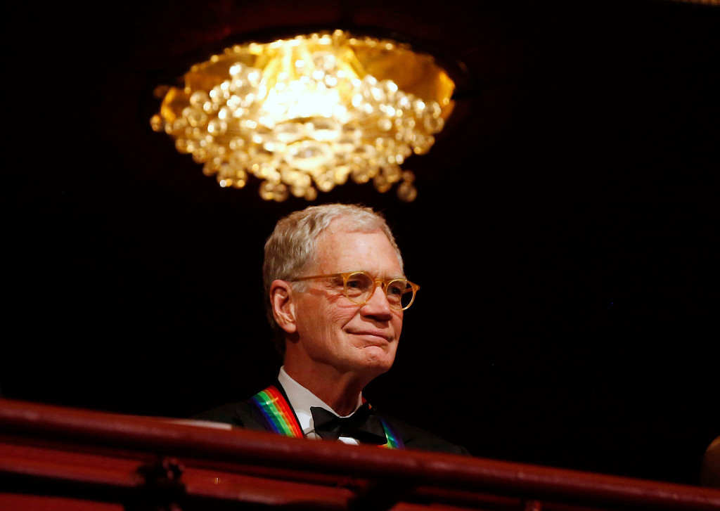 Description of . Late-night TV talk show host David Letterman is pictured on the balcony at the 2012 Kennedy Center Honors at the Kennedy Center in Washington, December 2, 2012. Letterman was one of seven honorees of the 2012 event. REUTERS/Jason Reed