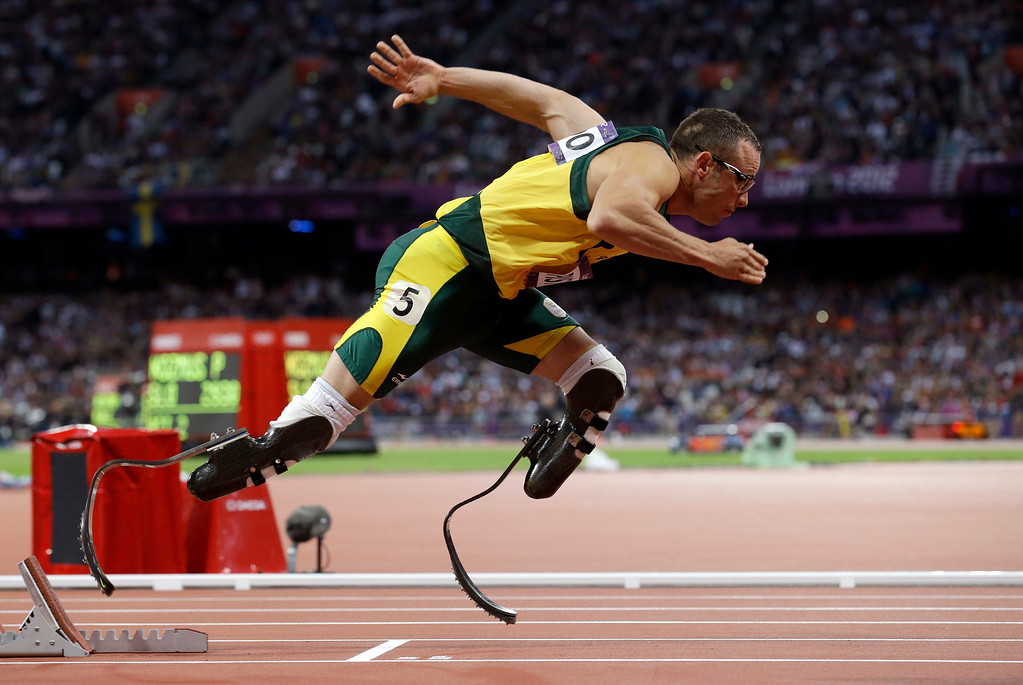 Description of . In this Aug 5, 2012 file photo, South Africa's Oscar Pistorius starts in the men's 400-meter semifinal during the athletics in the Olympic Stadium at the 2012 Summer Olympics in London. (AP Photo/Anja Niedringhaus, File)