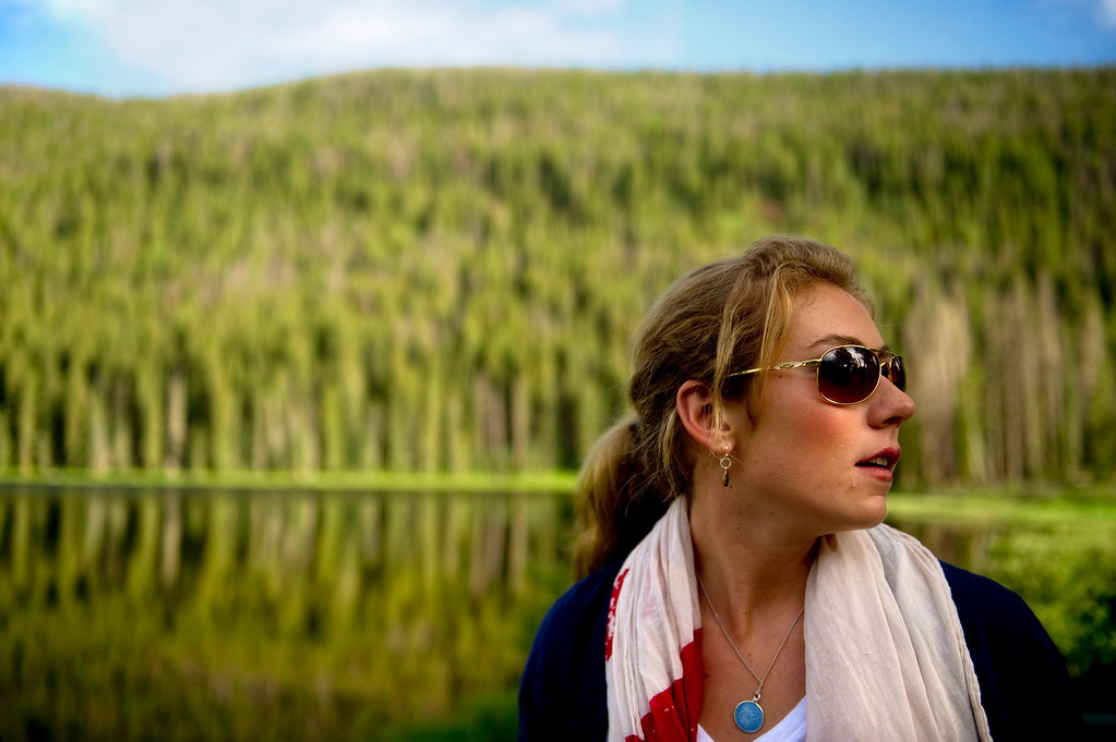 Description of . Mikaela Shiffrin looks around as she sees Piney Lake for the first time before a photo shoot on July 15, 2013. (Photo By Grant Hindsley/The Denver Post)