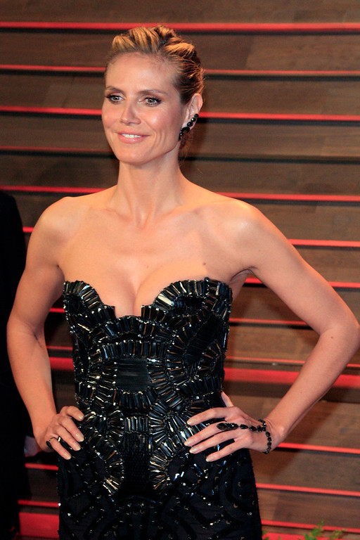 Description of . Heidi Klum arrives for the Vanity Fair Oscar After-Party following the 86th annual Academy Awards ceremony in Hollywood, Los Angeles, California, USA, 02 March 2014.  EPA/NINA PROMMER