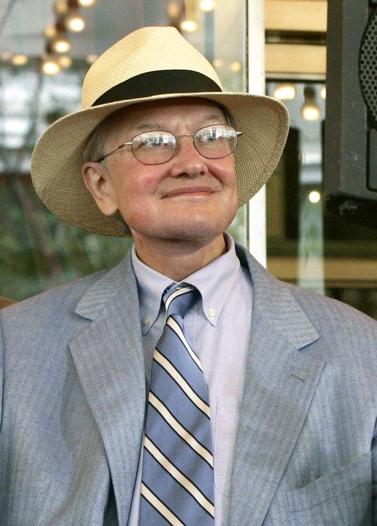 Description of . Film critic Roger Ebert is seen in this July 18, 2005 file photo in Chicago.  (AP Photo/Charles Rex Arbogast)