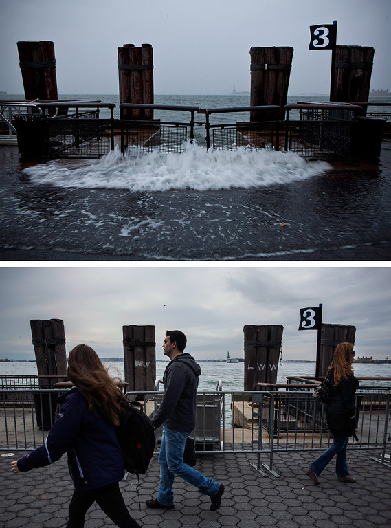 Description of . NEW YORK, NY - OCTOBER 23: (top)  Rising water caused by Superstorm Sandy rushes onto the pathway at Battery Park on October 29, 2012 in New York City.   NEW YORK, NY - OCTOBER 23: (bottom)  Tourists walk along the pathway in Battery Park October 23, 2013 in New York City.  Hurricane Sandy made landfall on October 29, 2012 near Brigantine, New Jersey and affected 24 states from Florida to Maine and cost the country an estimated $65 billion.  (Photos by Andrew Burton/Getty Images)