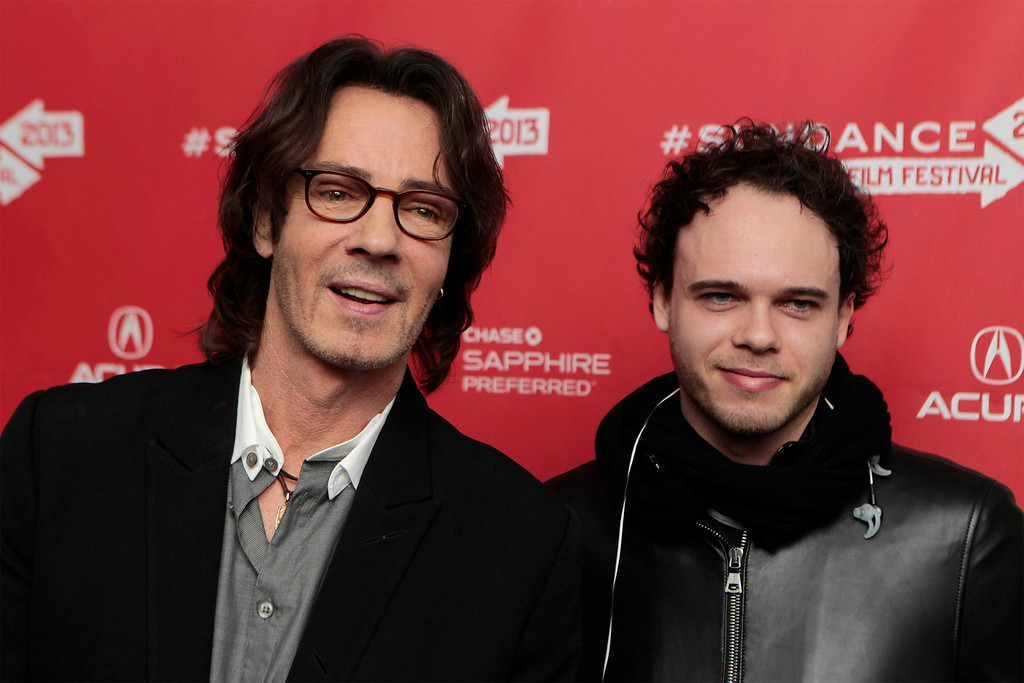 Description of . Musician Rick Springfield and his son Liam arrive for the premiere of the documentary