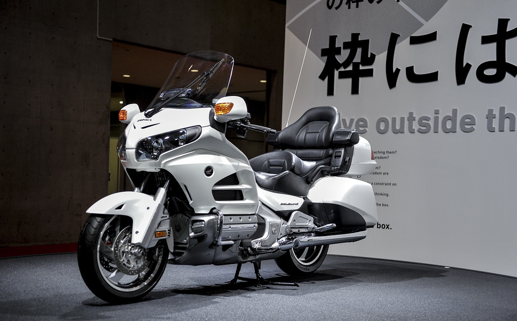 Description of . Honda Motor Co. Goldwing motorcycle is displayed during the 43rd Tokyo Motor Show 2013 at Tokyo Big Sight on November 20, 2013 in Tokyo, Japan.  (Photo by Keith Tsuji/Getty Images)