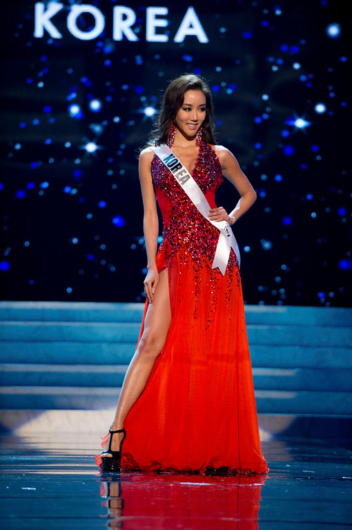 Description of . Miss Korea 2012 Sung-hye Lee competes in an evening gown of her choice during the Evening Gown Competition of the 2012 Miss Universe Presentation Show in Las Vegas, Nevada, December 13, 2012. The Miss Universe 2012 pageant will be held on December 19 at the Planet Hollywood Resort and Casino in Las Vegas. REUTERS/Darren Decker/Miss Universe Organization L.P/Handout