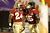 (L-R) Lonnie Pryor #24 and Greg Dent #15 of the Florida State Seminoles celebrate after Pryor scored a 60-yard rushing touchdown in the first quarter against the Northern Illinois Huskies during the Discover Orange Bowl at Sun Life Stadium on January 1, 2013 in Miami Gardens, Florida.  (Photo by Streeter Lecka/Getty Images)