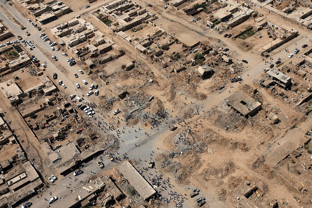 . An aerial view of the village of Kahtaniya, one of two villages struck by garbage trucks packed with explosives, west of Mosul, northwest of Baghdad August 16, 2007. Angry members of a minority sect said they feared annihilation and pleaded for help, after suicide attackers killed scores in possibly the worst such bomb attack of the Iraq conflict. REUTERS/Thaier al-Sudani