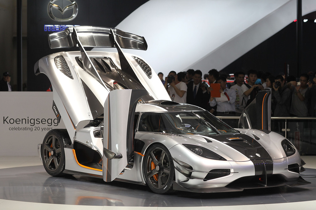 Description of . A Koenigsegg sports car is on display at the China International Exhibition Center new venue during the