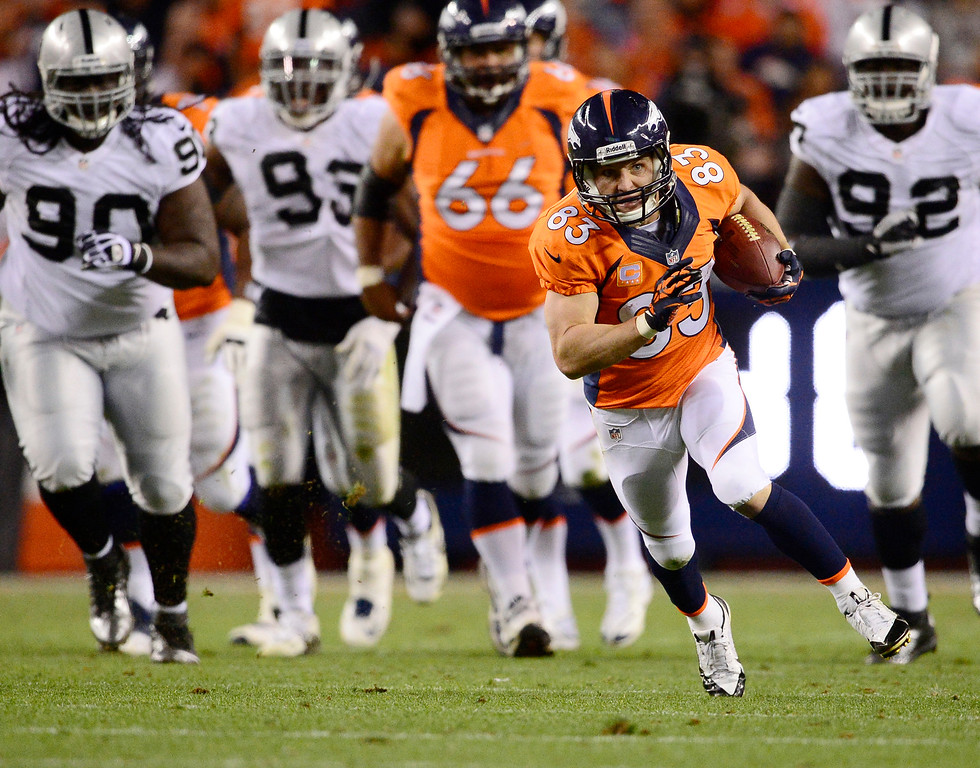 Description of . Denver Broncos wide receiver Wes Welker (83) breaks a tackle and runs up field in the second quarter. The Denver Broncos took on the Oakland Raiders at Sports Authority Field at Mile High in Denver on September 23, 2013. (Photo by AAron Ontiveroz/The Denver Post)