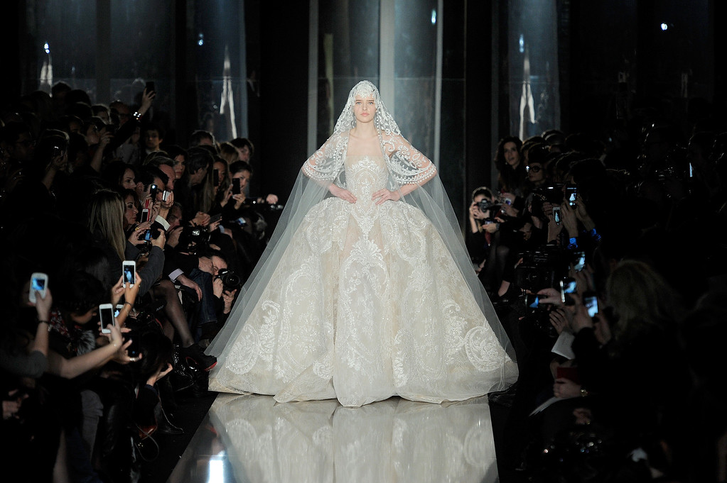 Description of . PARIS, FRANCE - JANUARY 23:  A model walks the runway duiring the Elie Saab Spring/Summer 2013 Haute-Couture show as part of Paris Fashion Week at Pavillon Cambon Capucines on January 23, 2013 in Paris, France.  (Photo by Kristy Sparow/Getty Images)