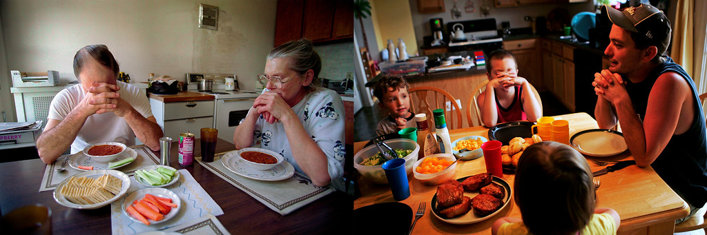 Description of . Whether a simple meal for a farm couple, or a tableful of food for a suburban family, bowed heads and folded hands acknowledge that eating together is a gift of grace. Photos by Scott Strazzante.