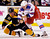Boston Bruins' Gregory Campbell (L) is pushed to the ground as he fights with New York Rangers' Stu Bickel during the second period of their NHL hockey game at TD Garden in Boston, Massachusetts January 19, 2013. REUTERS/Jessica Rinaldi