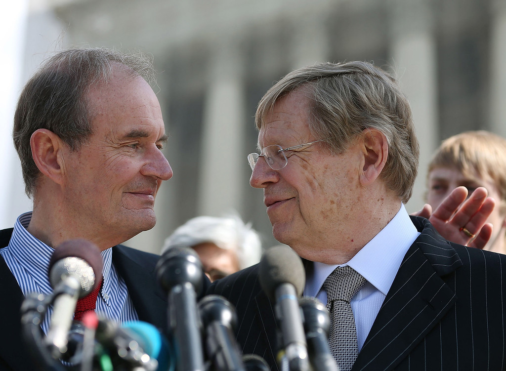 Description of . 6: Plaintiff attorneys David Boies (L) and Ted Olson talk to the media after oral arguments at the U.S. Supreme Court, on March 26, 2013 in Washington, DC. (Photo by Mark Wilson/Getty Images)