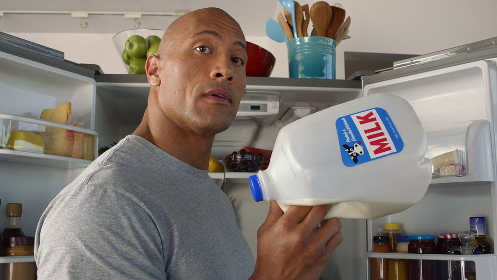 "Description of . This  screenshot provided by the Milk Processor Education Program, known as MilkPep shows the company\'s Super Bowl advertisement. The Milk Processor Education Program, known as MilkPep and popular for its ""Got Milk?\"" print ads, is featuring actor and professional wrestler Dwayne \""The Rock\"" Johnson in a 30-second ad in the second quarter that is directed by Peter Berg. (AP Photo/Milk Processor Education Program)"